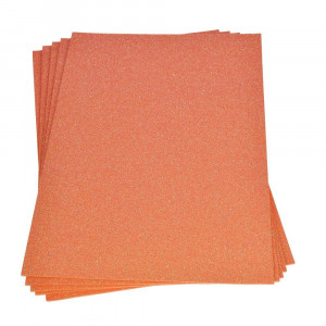 Moosgummiplatte Glitter, 200 x 300 x 2 mm, orange, 2 Platten im SET